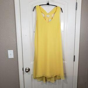 NY & CO Yellow Sleeveless High-low Shift Sun Dress